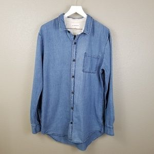 On The Byas Chambray Button Up Shirt XL Long